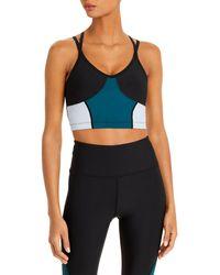 Aqua Athletic Colour Blocked Strappy Sports Bra - Green