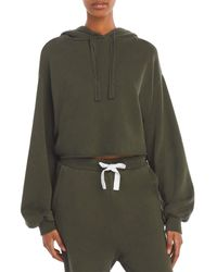 FRAME Cropped Balloon Sleeve Hoodie - Green
