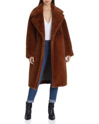 Avec Les Filles - Oversized Double-breasted Front Teddy Bear Coat - Lyst