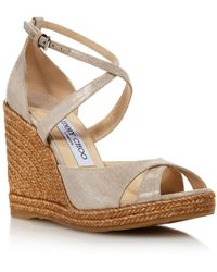 c3749fa1903 Jimmy Choo - Alanah 105 Metallic Wedge Sandals - Lyst