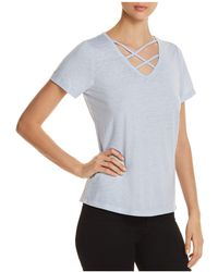 Marc New York - Performance Short-sleeve Marled Strappy-neck Tee - Lyst