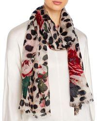 Bloomingdale's Animal & Rose Print Wool Scarf - Pink