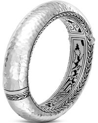 John Hardy | Sterling Silver Classic Chain Hammered Large Oval Hinged Bangle | Lyst