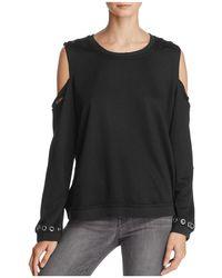 Honey Punch Cold-shoulder Distressed Sweatshirt - Black