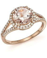 Bloomingdale's - Morganite And Diamond Halo Ring In 14k Rose Gold - Lyst