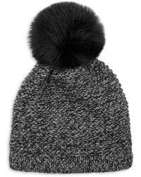 Kyi Kyi Knitted Faux Fur Pom Pom Hat - Grey