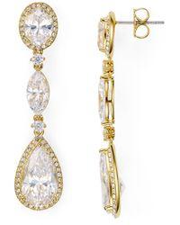 Nadri Oval Drop Earrings - Metallic