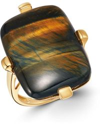 Bloomingdale's Blue Tiger Eye Statement Ring In 14k Yellow Gold - Metallic