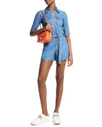 MICHAEL Michael Kors Chambray Belted Romper - Blue