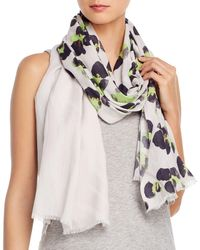 Fraas Painted Leopard Cotton Scarf - Grey