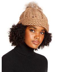 Aqua Faux Fur Pom - Pom Knit Hat - Multicolour