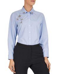 Gerard Darel Mae Star & Moon Embellished Striped Shirt - Blue