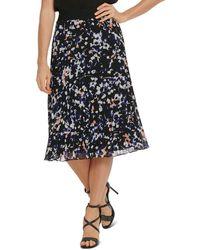 DKNY Printed Pleated Skirt - Black