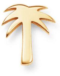 Zoe Chicco 14k Yellow Gold Single Itty Bitty Palm Tree Stud Earring - Metallic