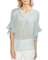 Vince Camuto - Floral Ruffle-cuff Blouse - Lyst