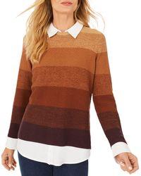 Foxcroft Sanders Layered Look Sweater - Brown