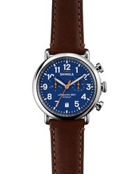 Shinola - The Runwell Dark Brown Leather Strap Chronograph Watch - Lyst