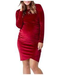 Nom Maternity Clio Ruched Velvet Dress - Red