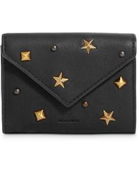 AllSaints Mazzy Studded Small Leather Card Case - Black