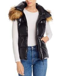 Aqua Faux Fur Trim Hooded Puffer Vest - Black