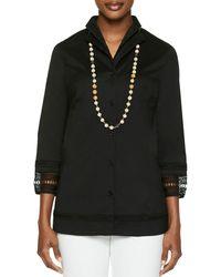 Misook Crochet Trim Tunic Shirt - Black