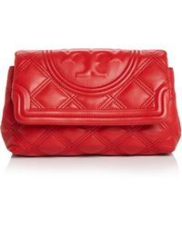 Tory Burch Fleming Soft Leather Clutch - Red