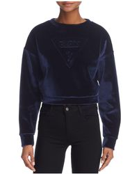 Guess   Cropped Velvet Sweatshirt   Lyst