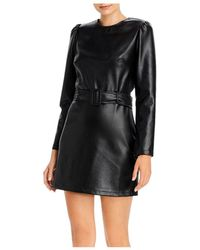 Lucy Paris Belted Faux Leather Dress - Black