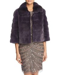 Maximilian Plucked Mink Fur Bolero With Chinchilla Fur Trim - Purple