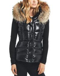 Sam. Legacy Fur Trim Down Vest - Black
