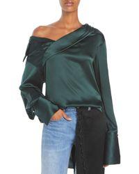 Hellessy Stella Asymmetrical Silk Top - Green