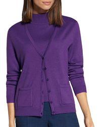 Basler Button - Front Cardigan - Purple