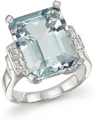 Bloomingdale's Aquamarine And Diamond Baguette Ring In 14k White Gold - Multicolor