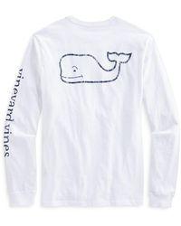 Vineyard Vines Long Sleeve Garment Dyed Vintage Whale Tee - White