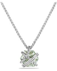 David Yurman   Petite Cable Wrap Necklace With Prasiolite And Diamonds   Lyst