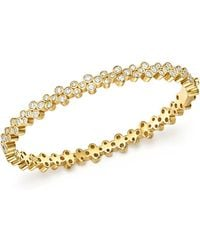 Temple St. Clair - 18k Yellow Gold Eternity Diamond Trio Bangle Bracelet - Lyst