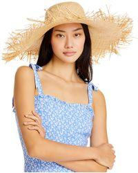 Aqua Raw Edged Straw Hat - Natural