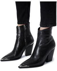 The Kooples Embossed High Heel Booties - Black
