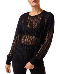 BLANC NOIR Linear Mesh Sweatshirt - Black