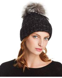 Kyi Kyi Fox Fur Pom - Pom Rib - Knit Beanie - Black
