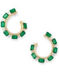 Bloomingdale's Emerald & Diamond Front - Back Earrings In 14k Yellow Gold - Green