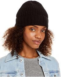 C By Bloomingdale's Ribbed Knit Cuff Cashmere Hat - Black