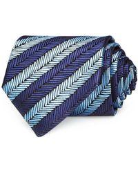 Ermenegildo Zegna Experimental Stripe Silk Classic Tie - Blue