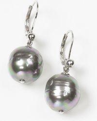 Majorica - Women's 12mm Baroque Grey Simulated Pearl Drop Earrings - Lyst