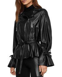 BCBGMAXAZRIA Self-tie Faux Leather Jacket - Black