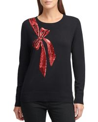 DKNY Sequin Bow Crewneck Sweater - Black