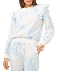 1.STATE Ruffled Tie Dyed Sweatshirt - Blue