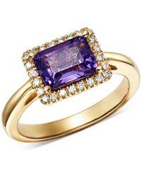 Bloomingdale's - Amethyst & Diamond Ring In 14k Yellow Gold - Lyst