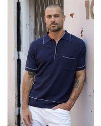 Velvet By Graham & Spencer Regular Fit Wide Collar Polo Shirt - Blue