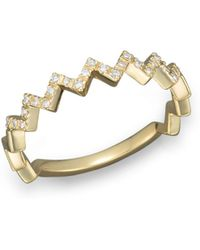 Bloomingdale's - Diamond Zigzag Ring In 14k Yellow Gold - Lyst